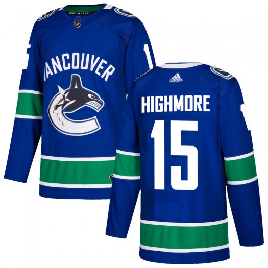 Matthew Highmore Vancouver Canucks Youth Adidas Authentic Blue Home Jersey