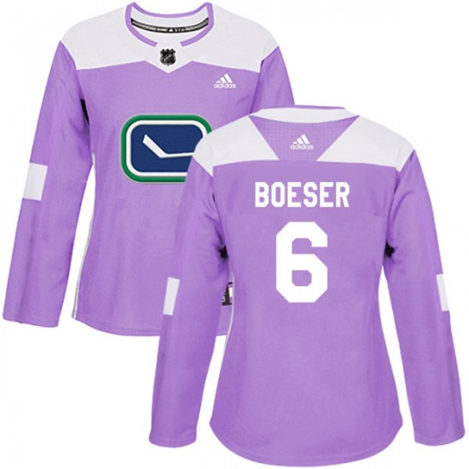 Brock Boeser Vancouver Canucks Women's Adidas Authentic Purple Fights Cancer Practice Jersey