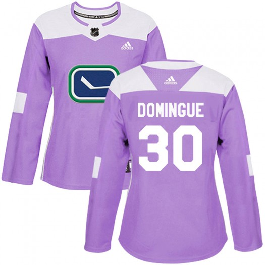 Louis Domingue Vancouver Canucks Women's Adidas Authentic Purple ized Fights Cancer Practice Jersey