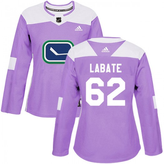 Joseph Labate Vancouver Canucks Women's Adidas Authentic Purple Fights Cancer Practice Jersey