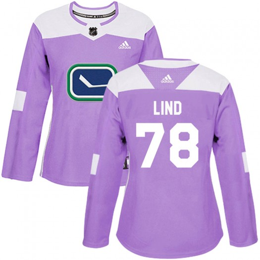 Kole Lind Vancouver Canucks Women's Adidas Authentic Purple Fights Cancer Practice Jersey