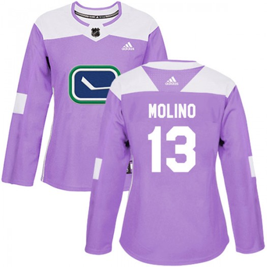 Griffen Molino Vancouver Canucks Women's Adidas Authentic Purple Fights Cancer Practice Jersey