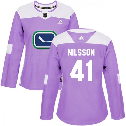 Tom Nilsson Vancouver Canucks Women's Adidas Authentic Purple Fights Cancer Practice Jersey