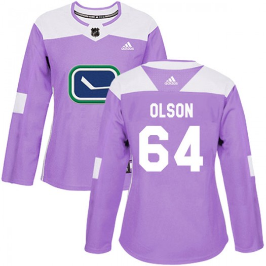 Tate Olson Vancouver Canucks Women's Adidas Authentic Purple Fights Cancer Practice Jersey