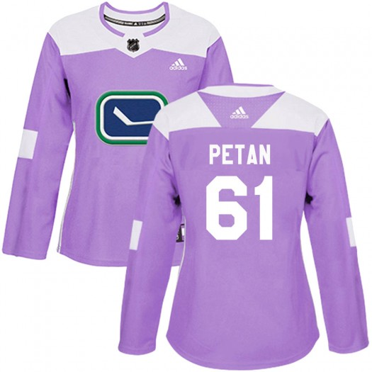 Nic Petan Vancouver Canucks Women's Adidas Authentic Purple Fights Cancer Practice Jersey