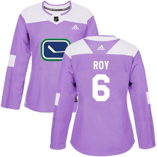 Marc-Olivier Roy Vancouver Canucks Women's Adidas Authentic Purple Fights Cancer Practice Jersey