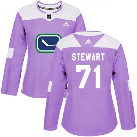 MacKenze Stewart Vancouver Canucks Women's Adidas Authentic Purple Fights Cancer Practice Jersey