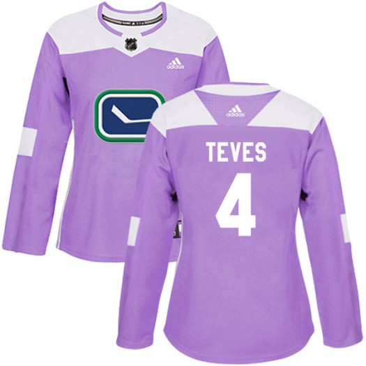 Josh Teves Vancouver Canucks Women's Adidas Authentic Purple Fights Cancer Practice Jersey