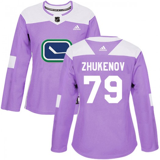 Dmitry Zhukenov Vancouver Canucks Women's Adidas Authentic Purple Fights Cancer Practice Jersey