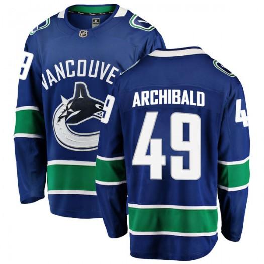 Darren Archibald Vancouver Canucks Youth Fanatics Branded Blue Breakaway Home Jersey