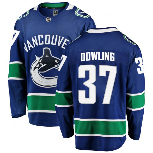 Justin Dowling Vancouver Canucks Youth Fanatics Branded Blue Breakaway Home Jersey