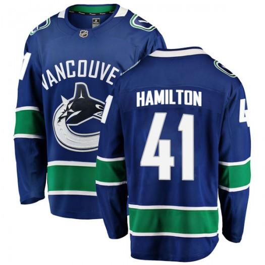 Wacey Hamilton Vancouver Canucks Youth Fanatics Branded Blue Breakaway Home Jersey