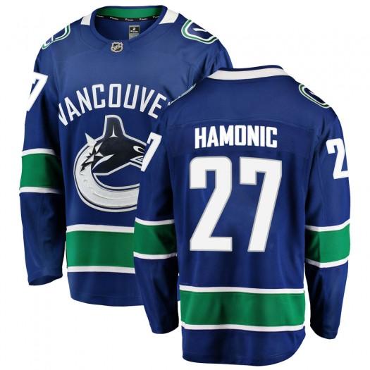 Travis Hamonic Vancouver Canucks Youth Fanatics Branded Blue Breakaway Home Jersey