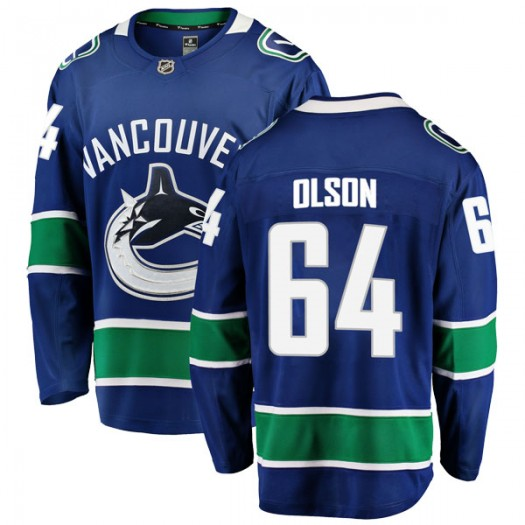 Tate Olson Vancouver Canucks Youth Fanatics Branded Blue Breakaway Home Jersey