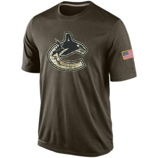 Vancouver Canucks Men's Nike Olive Salute To Service KO Performance Dri-FIT T-Shirt