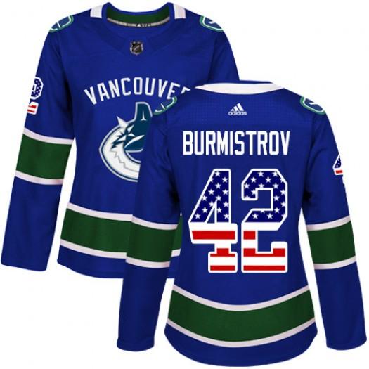 Alex Burmistrov Vancouver Canucks Women's Adidas Authentic Blue USA Flag Fashion Jersey
