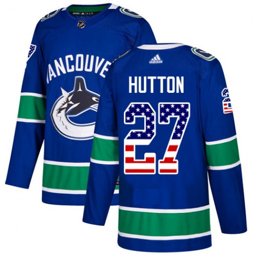 Ben Hutton Vancouver Canucks Youth Adidas Authentic Blue USA Flag Fashion Jersey