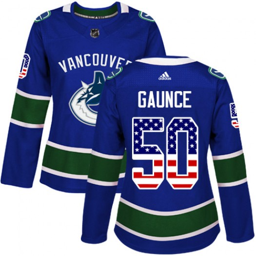Brendan Gaunce Vancouver Canucks Women's Adidas Authentic Blue USA Flag Fashion Jersey