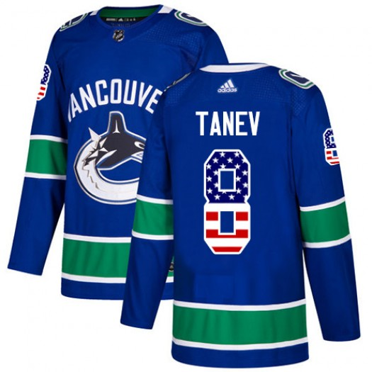Christopher Tanev Vancouver Canucks Men's Adidas Authentic Blue USA Flag Fashion Jersey