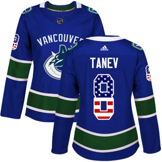 Christopher Tanev Vancouver Canucks Women's Adidas Authentic Blue USA Flag Fashion Jersey