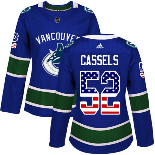 Cole Cassels Vancouver Canucks Women's Adidas Authentic Blue USA Flag Fashion Jersey