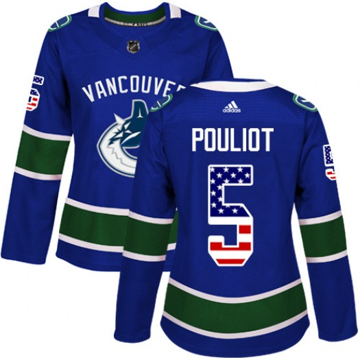 Derrick Pouliot Vancouver Canucks Women's Adidas Authentic Blue USA Flag Fashion Jersey