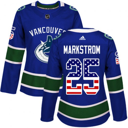 Jacob Markstrom Vancouver Canucks Women's Adidas Authentic Blue USA Flag Fashion Jersey