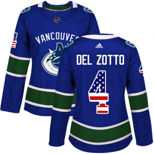 Michael Del Zotto Vancouver Canucks Women's Adidas Authentic Blue USA Flag Fashion Jersey
